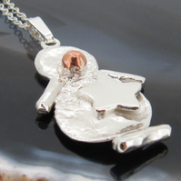 Snowboarding Snowman Pendant in Sterling Silver and Copper