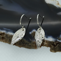 Pretty Fine Silver Angel Wing Drop Earrings