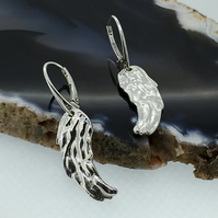 Feathery Sterling Silver Angel Wing Lever Back Earrings