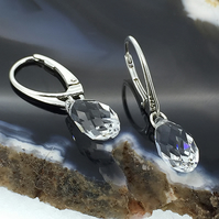 Elegant Sterling Silver & Swarovski Crystal Drop Earrings