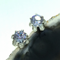 Sterling Silver Lilac Cubic Zirconia Flower Stud Earrings