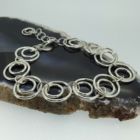 Stylish Handmade Sterling Silver Concentric Circles Bracelet