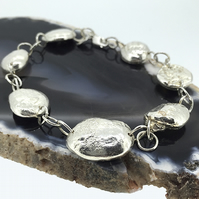 Unique Hand Made Sterling Silver Moon Rock Nugget Bracelet