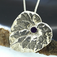 Purple Amethyst Gemstone and Sterling Silver Heart Leaf Pendant