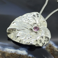 Asymmetric Sterling Silver Heart Shaped Leaf Pendant with Pink Cubic Zirconia