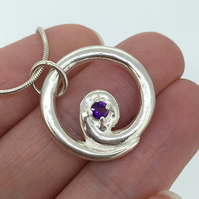 Contemporary Amethyst Set Sterling Silver Spiral Pendant