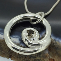 Stylish Smokey Quartz and Sterling Silver Spiral Pendant