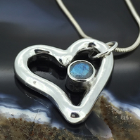 Floating Silver Heart Pendant with Green Labradorite