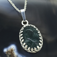 Sterling Silver and Green Moss Agate