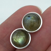 Large Labradorite Gemstone and Sterling Silver Ear Studs