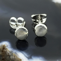 Tiny Milky White Moonstone and Sterling Silver Ear Studs for Pierced Ears
