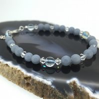 Baby Blue Angelite Gemstone Bracelet with Swarovski Crystals