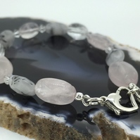 Sterling Silver Bracelet with Swarovski Crystal Rose and Tourmalinated Quartz