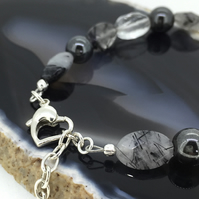 Tonal Tourmalinated Quartz Haematite Gemstone and Sterling Silver Bracelet