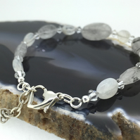 Sterling Silver Bracelet with Swarovski Crystals Moonstone and Tourmaline Quartz