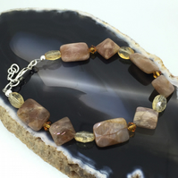 Warm Sterling Silver Bracelet with Swarovski Crystals Sunstone and Citrine