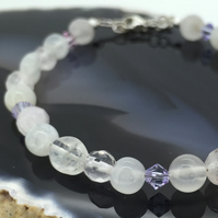 Pretty Sterling Silver Bracelet with Rose Quartz Moonstone and Swarovski Crystal