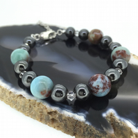 Sterling Silver and Haematite Bracelet with Blue Larimar Worlds and Swarovski