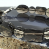Large Sterling Silver and Smokey Quartz Bracelet