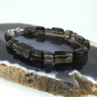 Small Brown Smokey Quartz and Sterling Silver Bracelet