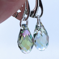 Sterling Silver Earrings with Light Green Swarovski Crystal Drops