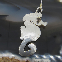 Sterling Silver Seahorse Pendant with Brown Smokey Quartz Gemstone Eye
