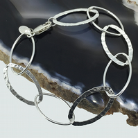 Large Hammered and Smooth Textured Oval Link Bracelet made with Sterling Silver