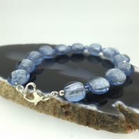 Glitzy Silvery Blue Glass and Swarovski Crystal Beaded Bracelet