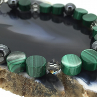 Dark Green Malachite Haematite and Swarovski Crystal Beaded Bracelet