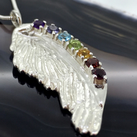 Sterling Silver Angel Wing with Rainbow Coloured Chakra Gemstones
