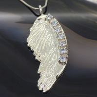 Sterling Silver Angel Wing Pendant with White Cubic Zirconia CZ Gemstones