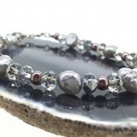 Champagne Fresh Water Pearl and Crystal Bracelet