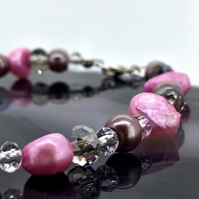 Pink Fresh Water Pearl Bracelet with Crystals and Glass Pearls