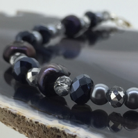 Black Fresh Water Pearl Bracelet with Blue Crystals and Silver Pearls