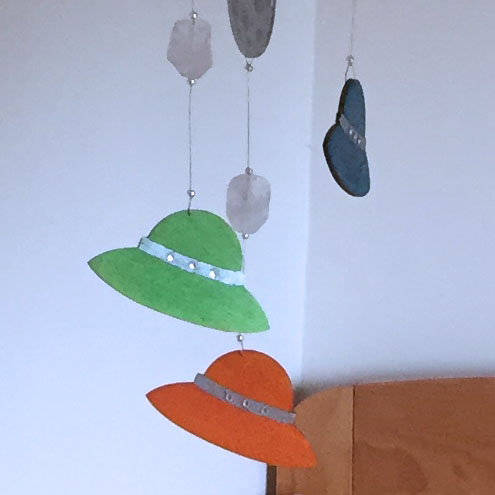Colourful Spaceship and Silvery Planet Mobile for Nursery and Playroom