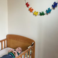 Boy's Wooden Train Banner with Gemstone Beads