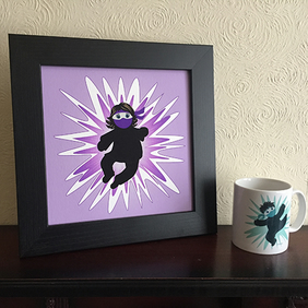 Girls Purple Ninja Warrior Print