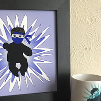 Boys Ninja Warrior Print in Blue