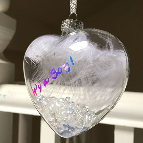 New Baby Boy Gift - Glass Heart Bauble