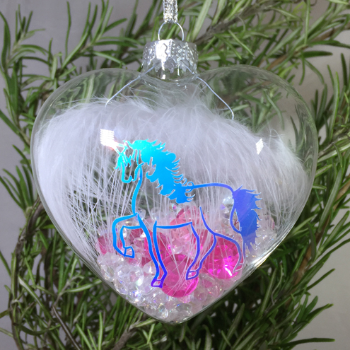 Unicorn Crystal and Feather - Glass Heart Decoration