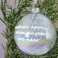 Angel Feather Gift - Iridescent Glass Bauble