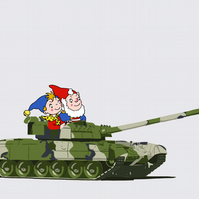 Noddy Gets Tanked Up - Limited Edition Giclee Print A3