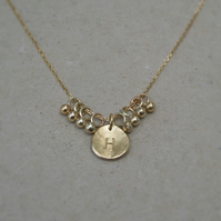 Handmade 9ct yellow gold small organic disc letter charm pendant and chain