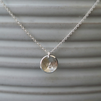 Handmade silver organic disc letter charm pendant and chain