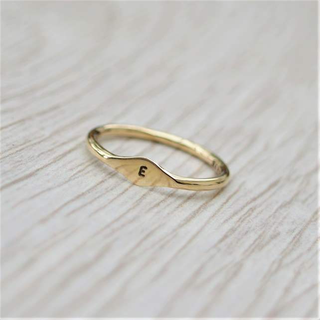 9ct yellow, rose or white gold tiny letter signet ring