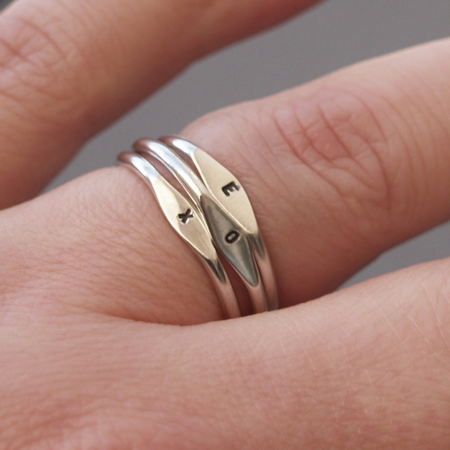 Silver tiny letter signet ring. Handmade in any size.