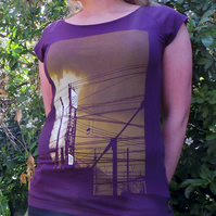 uchi sunset women's aubergine bamboo T shirt