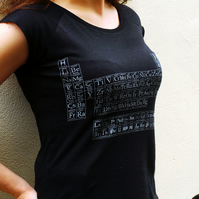 Typographic Periodic Table women's bamboo T shirt