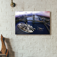 Star Wars vs London - incident at Tower Bridge - Canvas print