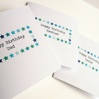 Blue Star Birthday Card for personalisation